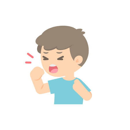 Young boy coughing, sickness allergy concept, Vector flat illustration.