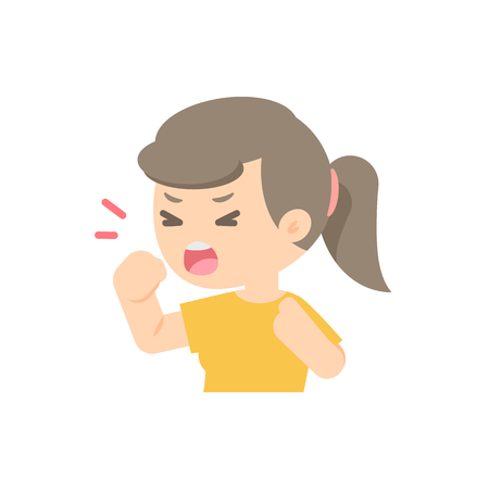 Young girl coughing, sickness allergy concept, Vector flat illustration.