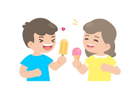 Happy boy and girl eating ice cream, enjoying dessert, vector illustration. Ilustracja