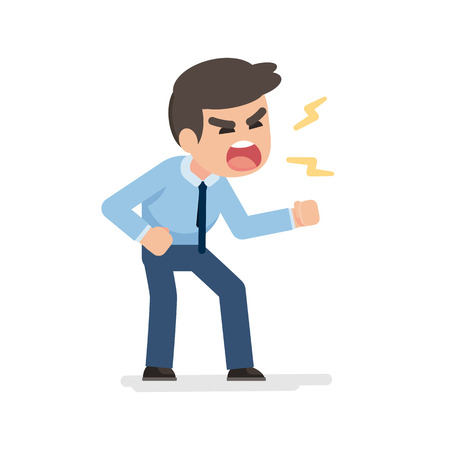 Businessman gets mad angry fighting and shouting expression, Vector illustration. Ilustracja