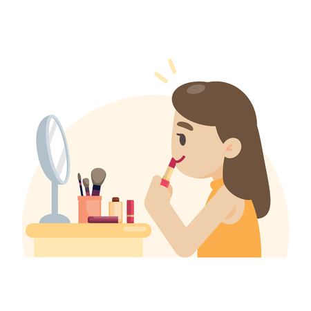 Young beautiful woman making makeup rouging her lips, vector illustration. Ilustracja