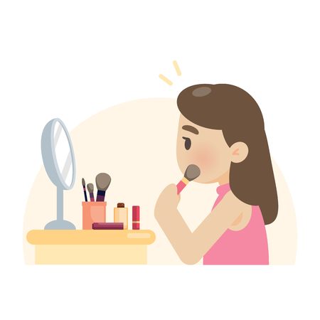 Young beautiful woman making makeup using a brush on face, vector flat design illustration.