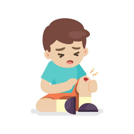 Boy with bruises on his leg, knee pain, vector illustration. Ilustracja