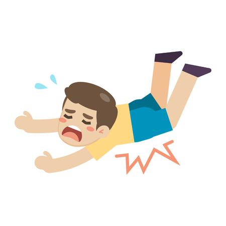 Boy slip and stumble on the floor, vector illustration. Vectores