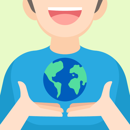 Boy holding the Earth in hands, Earth day April 22 concept, vector illustration.