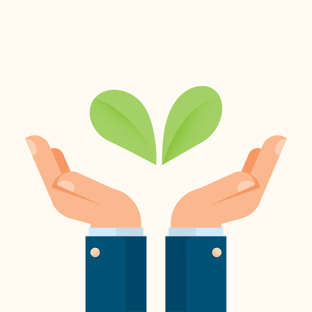 Businessman hands holding plants as an environment symbol, agriculture and nature concept.