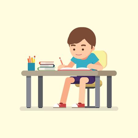 Szczęśliwy ładny szkoła chłopiec pisze do pracy domowej, koncepcja badania, ilustracji wektorowych.
