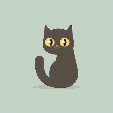Happy black cat kitten sitting, cartoon flat style vector illustration. Ilustracja