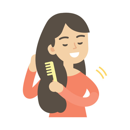 Young woman combing hair, cute vector illustration. 矢量图像