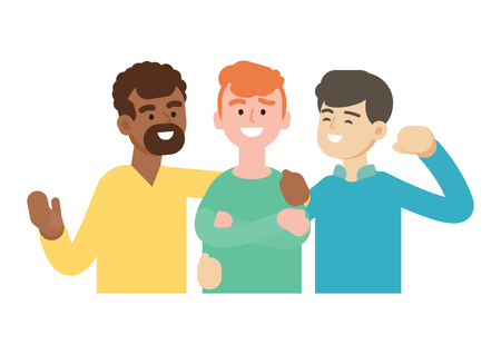 Group of young people, happy friend, teamwork concept, vector illustration.