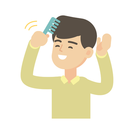Young handsome man combing hair, cute vector illustration.