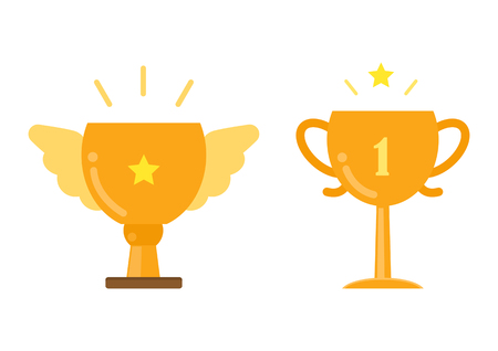 Gold trophy cup icons, Winner achievement concept, vector illustration. Ilustracja