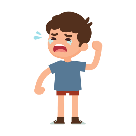 Cute little boy crying, vector illustration. Ilustracja
