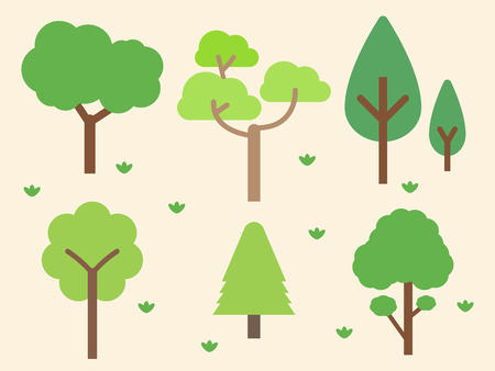 Green tree forest background, nature concept, vector illustration.