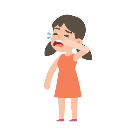 Cute little girl crying, vector character illustration. Иллюстрация