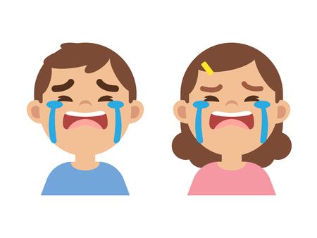 Schattige kleine jongen en meisje huilen, close-up gezicht, vectorillustratie.