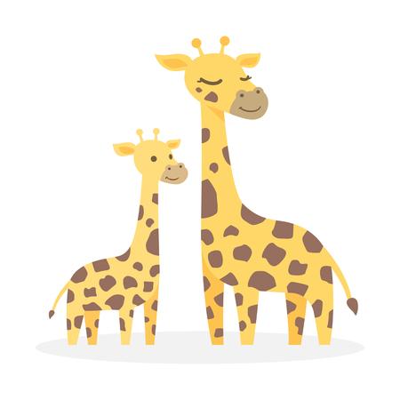 Two giraffes, Cute cartoon character, vector illustration. Ilustracja