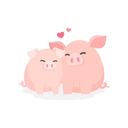 Cute couple pig hugging embracing happily, Dating relationship concept, Cartoon vector illustration. Ilustração