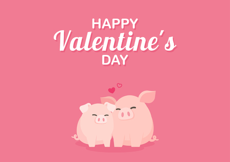 Valentines Day greeting card with cute pig couples hugging happily, Cartoon vector illustration.