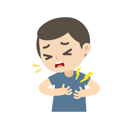 Man having a heart attack with chest pain cartoon, vector illustration. Ilustração