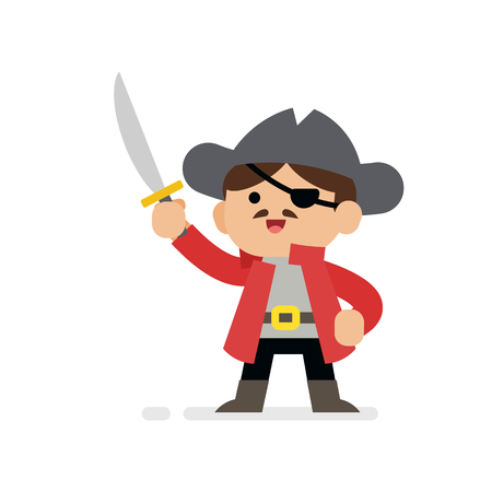 Cute boy pirate cartoon, the boy wearing pirate costume, vector illustration.