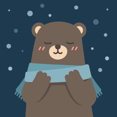 Cute bear wearing scarf enjoying winter, vector illustration.