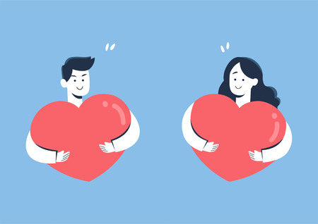 Cute couple smiling while hugging heart, valentine concept, cartoon vector illustration.