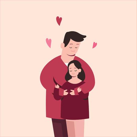 Cute couple in love, cartoon vector illustration. Ilustração