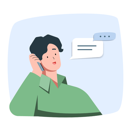 Young man is smiling talking on the phone, vector character illustration.