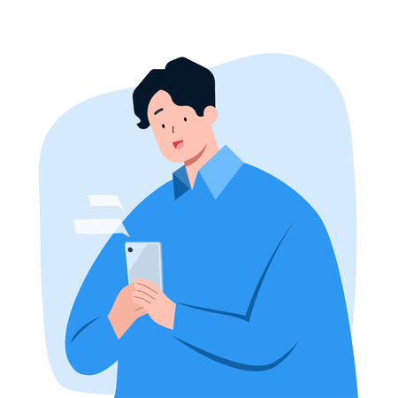 Young man texting message on smartphone, vector character illustration. Ilustração