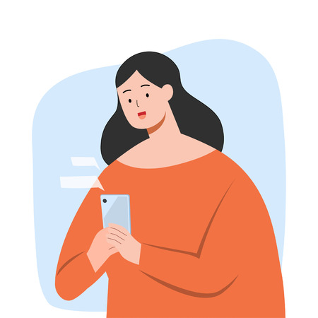 Happy woman texting message on smartphone, vector character illustration.