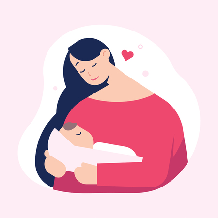 Mother holding cute baby. Happy Mothers day. Vector illustration. Ilustração