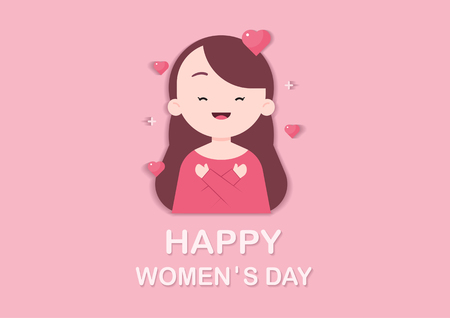 Happy International Womens Day. Pretty woman hugging herself. Vector illustration.