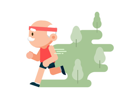 Elderly man running at park background, grandfather jogging, healthy lifestyle concept, vector illustration.