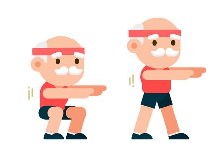 Elderly man doing exercises, senior man workout, healthy lifestyle concept, flat vector illustration.