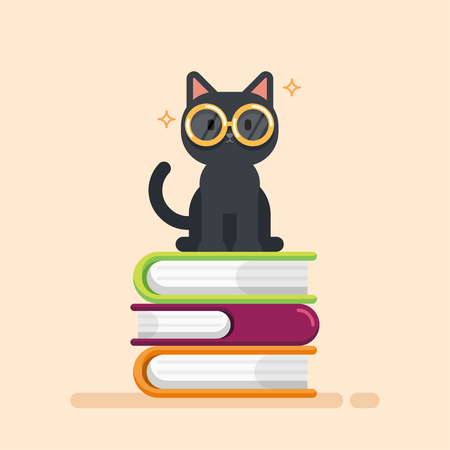Cute cat sitting on a Pile of Books, education concept, vector illustration.