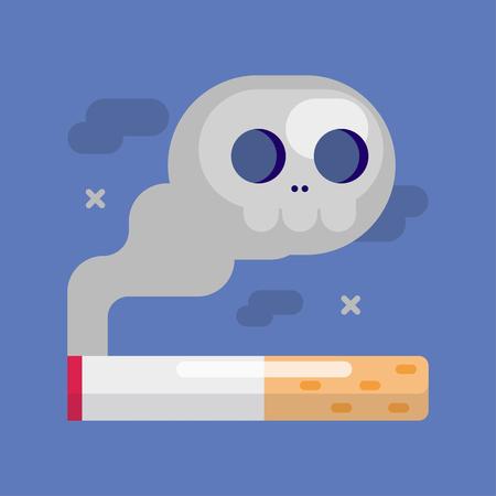 Cigarette with a smoke skull, smoking concept,  Vector cartoon illustration.