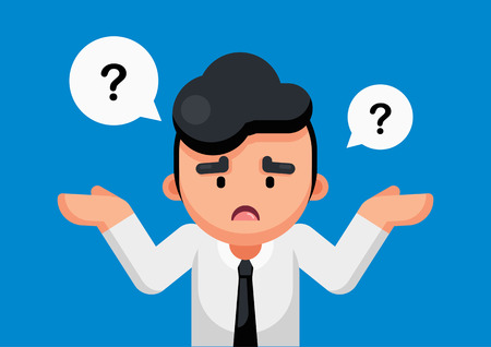 Businessman is confusing and thinking with question marks sign, Vector illustration.