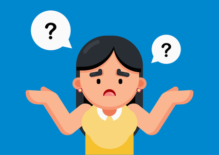 Woman is confusing and thinking with question marks sign, Vector illustration.