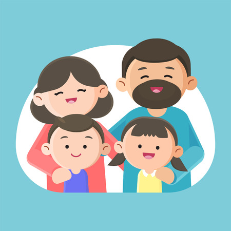 Family smiling happily together, Vector character design illustration.