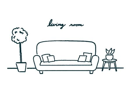 Living room interior design with side table and plants, doodle outline icon. hand-drawn style vector illustration.