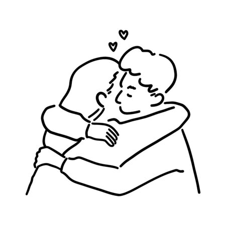 Cute couple hugging each other, love and passion concept, hand-drawn style vector illustration. Illustration