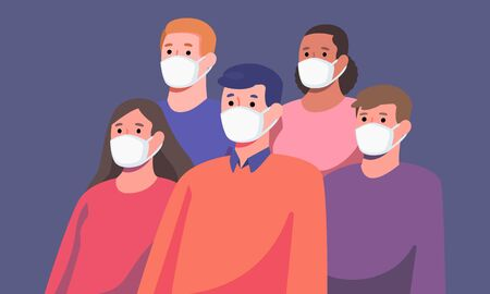 Group of diverse people wearing masks protection from disease or pollution, healthcare and hygiene concept, vector illustration flat design.