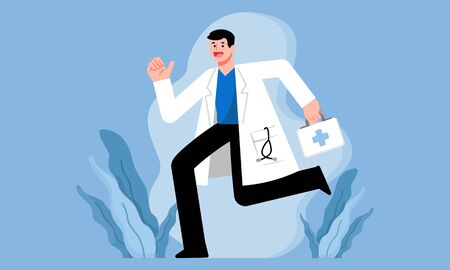 Medical, healthcare services concept, Doctor running with first aid box, vector illustration character design.