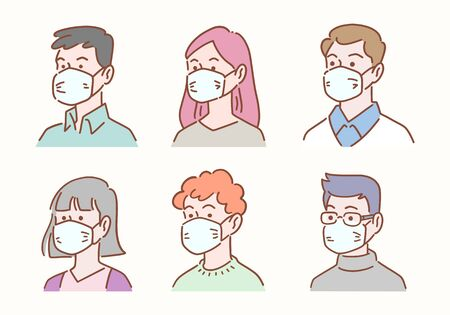 Hand drawn set of diverse people avatar wearing masks protection from disease or pollution, healthcare and hygiene concept, vector illustration flat design.