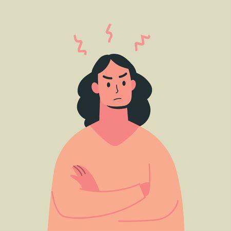 Jeune femme en colère, expression folle, illustration vectorielle. Vecteurs