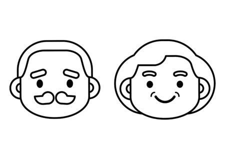 Cute elderly senior age couple line icon, character design, vector illustration. Çizim
