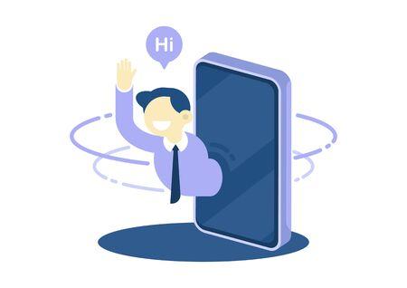 Businessman waving greeting and say hi through smartphone, customer service concept, vector flat design illustration. Çizim