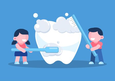 Little children cleaning brushing a tooth concept, vector character illustration.