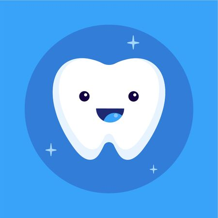 Cute happy smiling tooth icon, flat vector illustration.